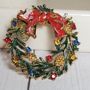 Vintage Christmas Enamel Rhinestone Wreath Brooch